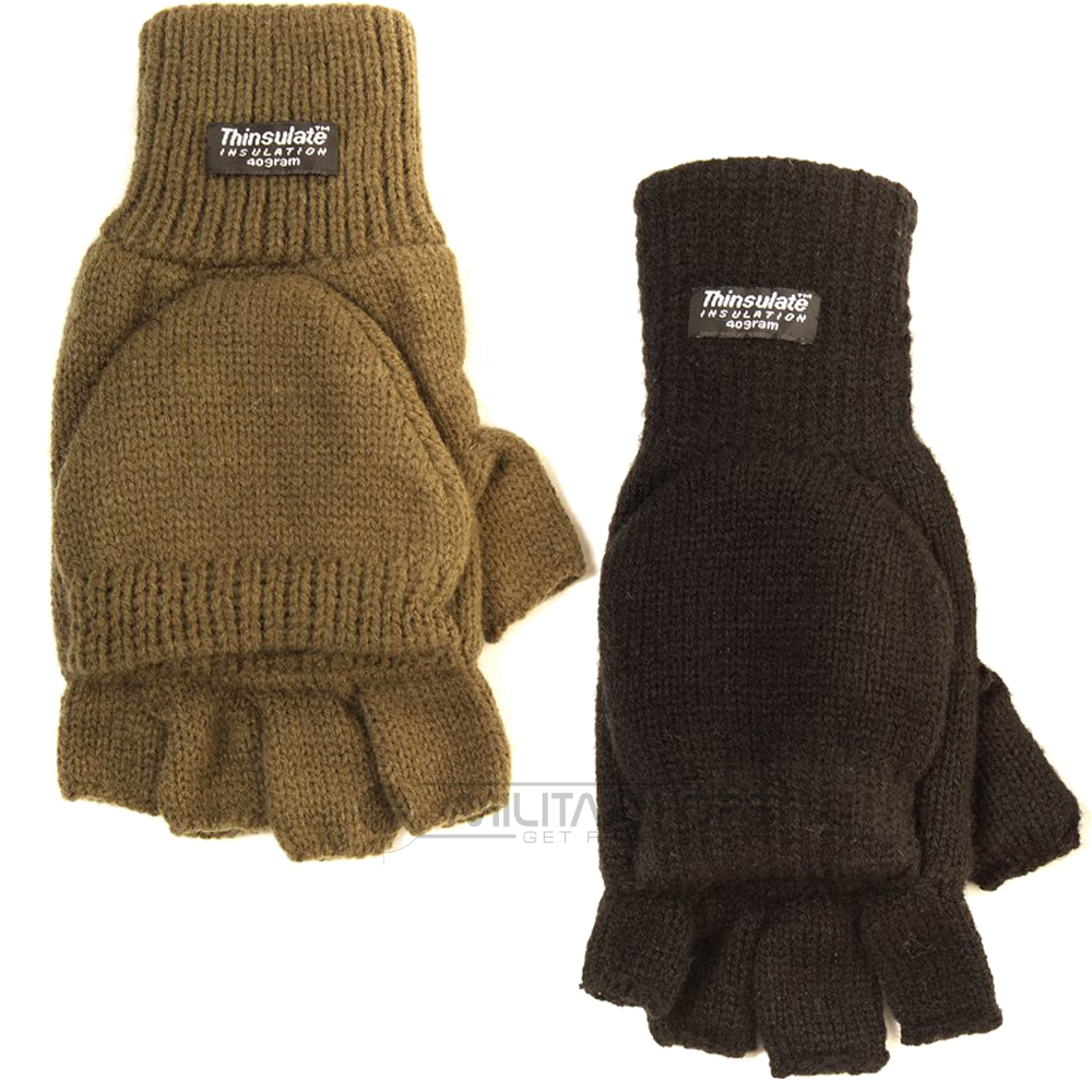 Knitting Pattern For Hunting Mittens : KNITTED THINSULATE SHOOTERS MITTS FINGERLESS GLOVES MITTENS HUNTING SHOOTING ...