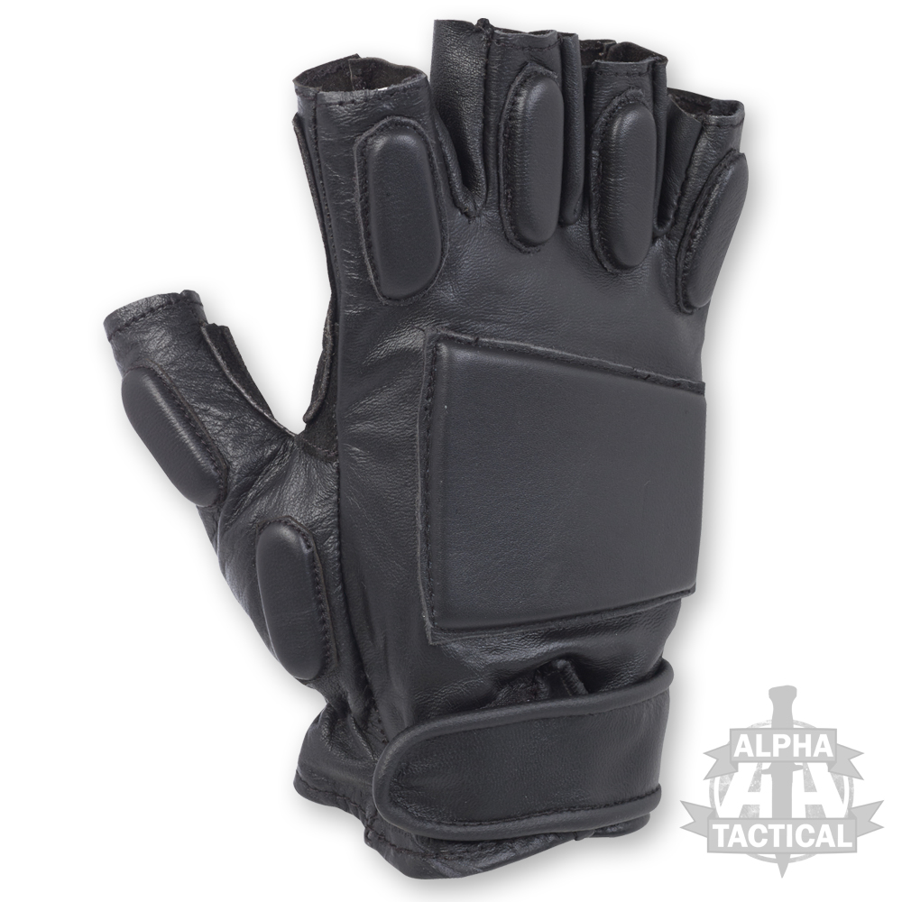 Black tactical gloves - Alpha Tactical Padded Tactical Leather Fingerless Gloves